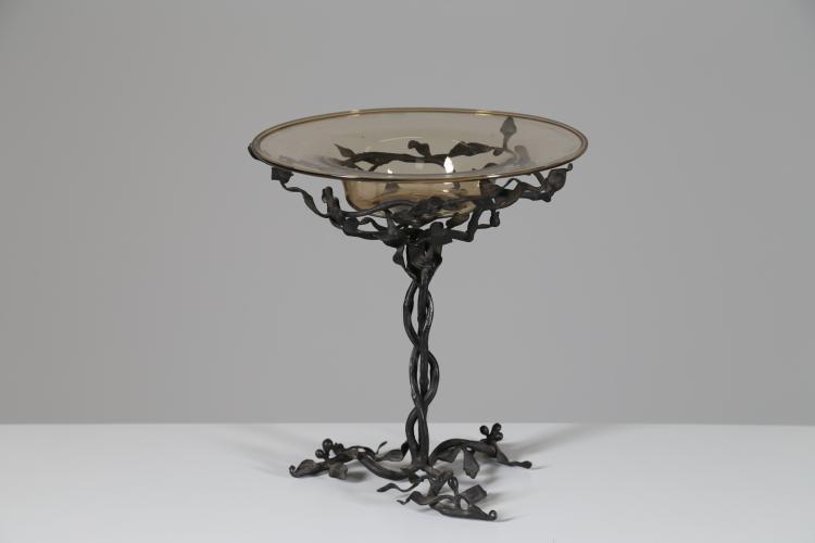 Attrib. Centrotavola in ferro battuto e vetro di Murano, anni 20
