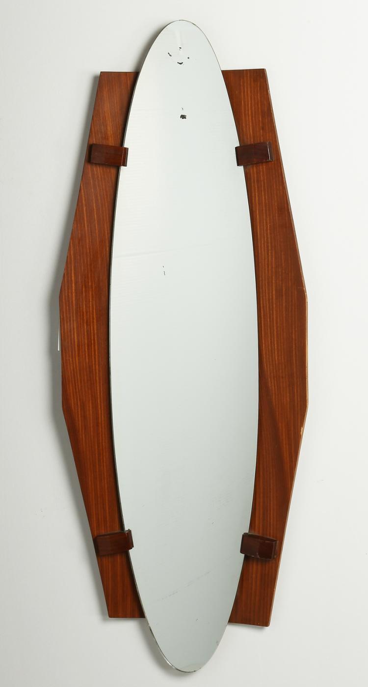 Specchio su tavola in legno di teak, anni 60