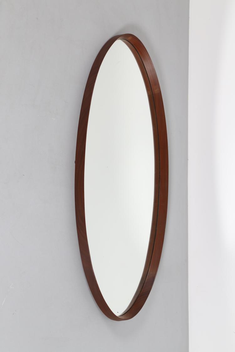 Specchio ovale in legno e vetro, anni 50