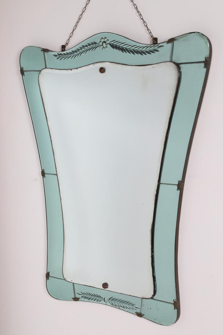 Specchio in vetro inciso e ottone, anni 40
