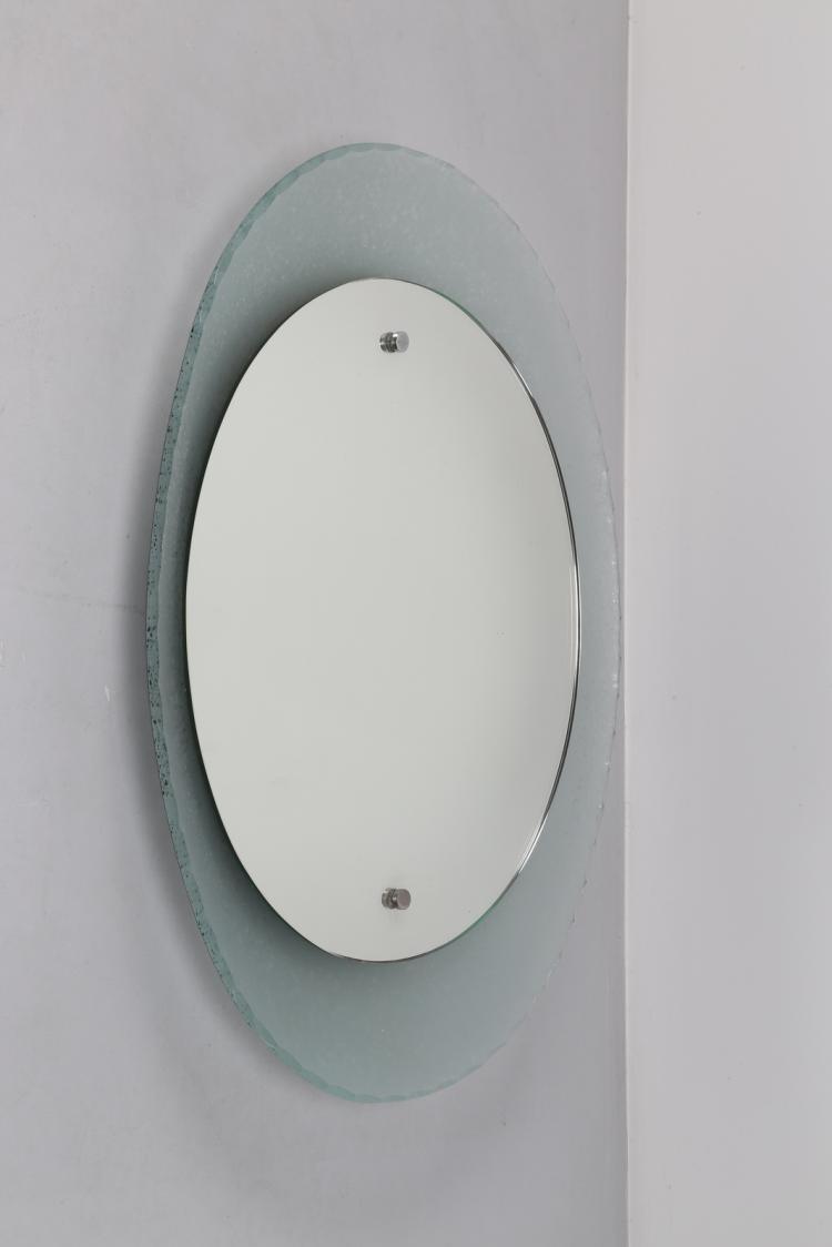 Specchio ovale concavo, anni 50