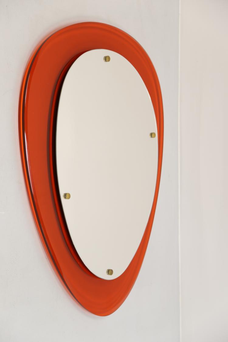 Specchio in vetro arancione e ottone, anni 70