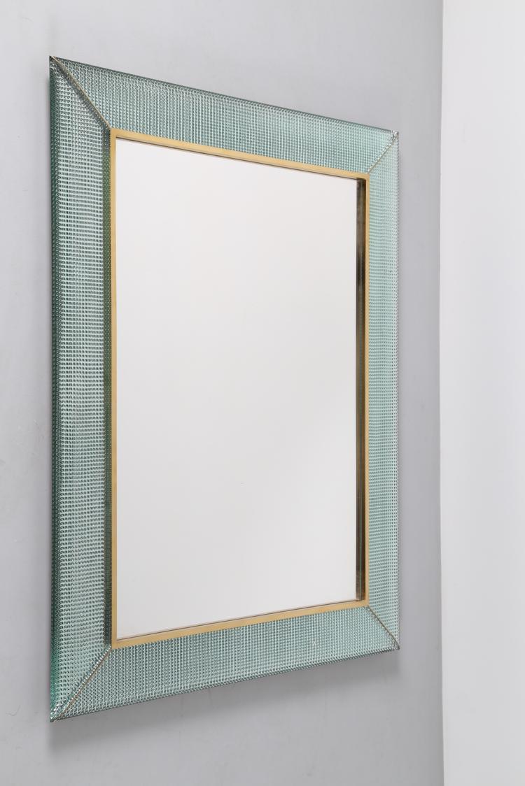 Specchio in vetro diamantato e ottone, anni 70°