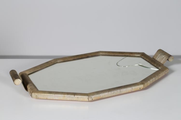 Vassoio in ottone e vetro, anni 50