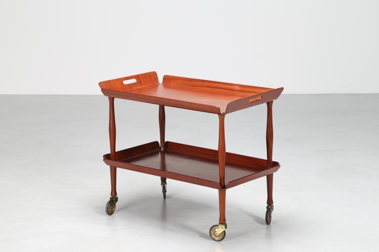 Carrello bar in legno e ottone, anni 50