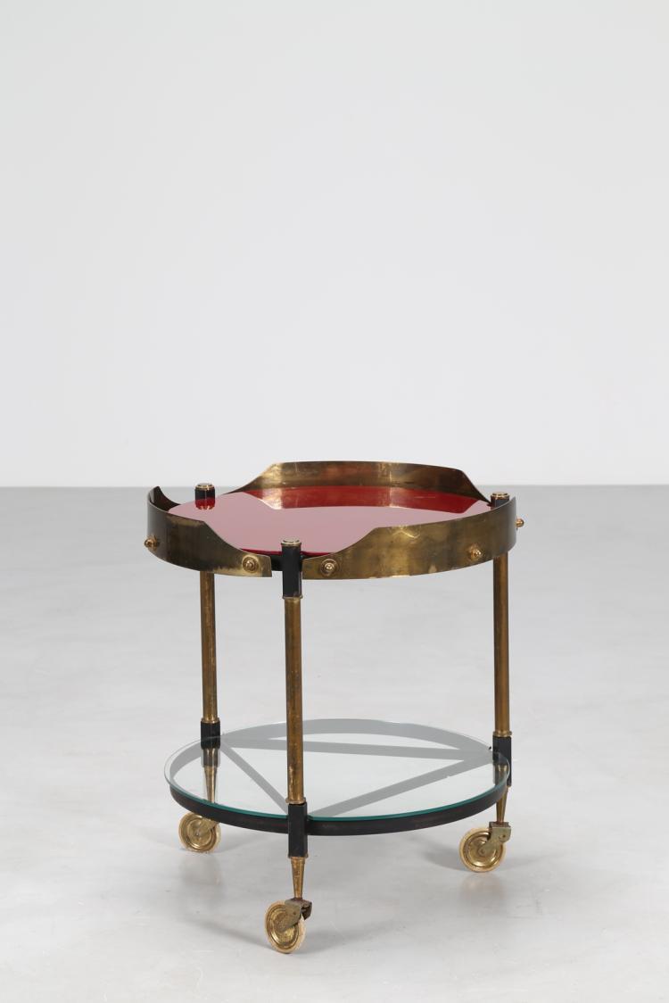 Carrello tondo in ottone, metallo e vetro