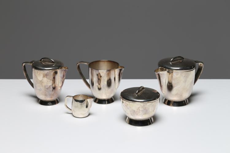 Set da tè e caffè in alpacca per Fratelli Calderoni, anni 50. Marchio inciso alla base
