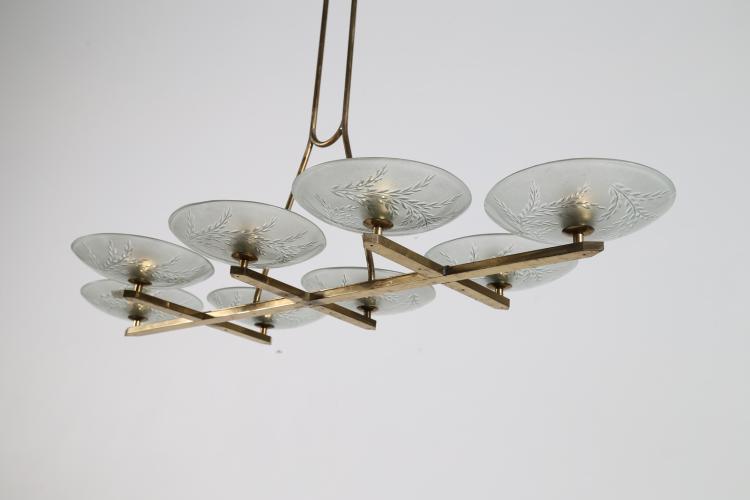 Lampada a sospensione in ottone e vetro inciso, anni 50