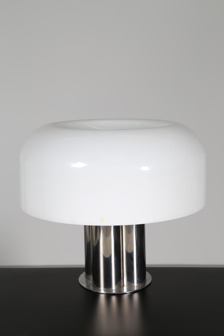 Grande lampada da tavolo in perspex e metallo cromato, anni 70°