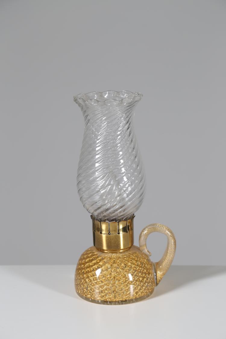 Lampada da comodino in vetro e ottone, anni 40