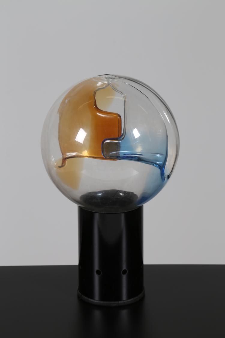 Lampada da tavolo in metallo laccato e vetro a membrane, anni 70