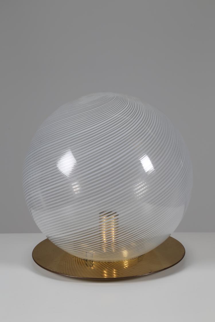 Lampada da tavolo in ottone e vetro serie tessuto, anni 60