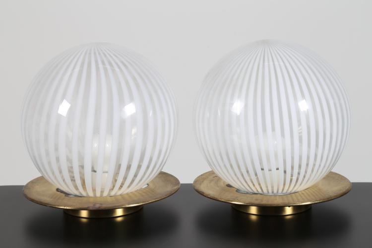 Coppia lampade da tavolo in ottone vetro serie Tessuto, anni 60