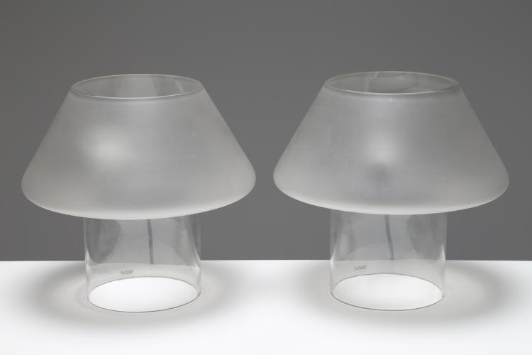 Coppia lampade da tavolo in vetro sabbiato e trasparente, anni 80