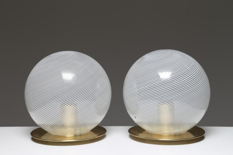 Coppia lampade da tavolo in ottone e vetro serie tessuto, anni 60