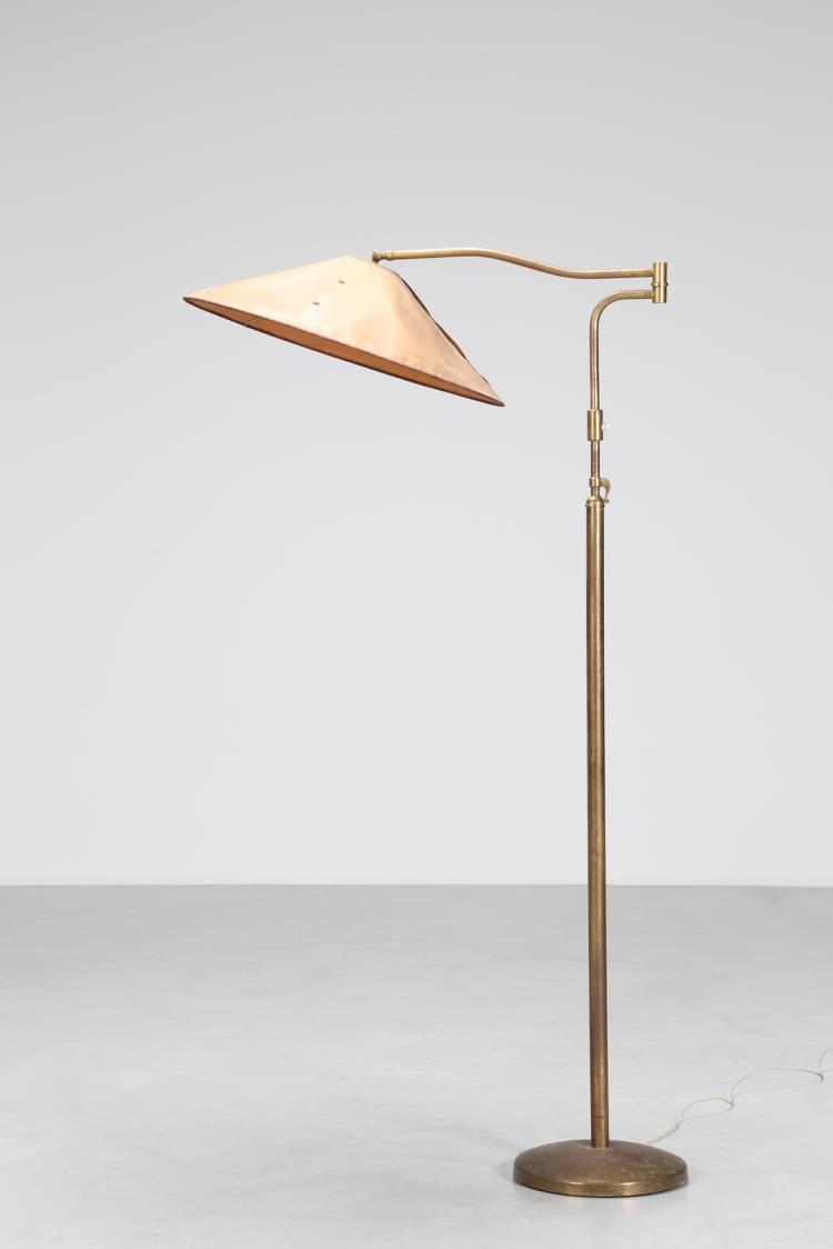 Attrib. Lampada da terra in ottone e pergamena, anni 50