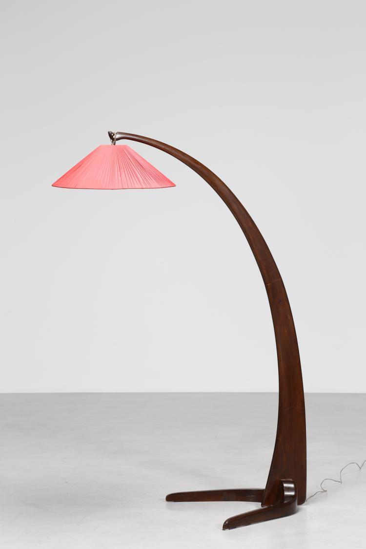 Lampada da terra in legno curvato, anni 70