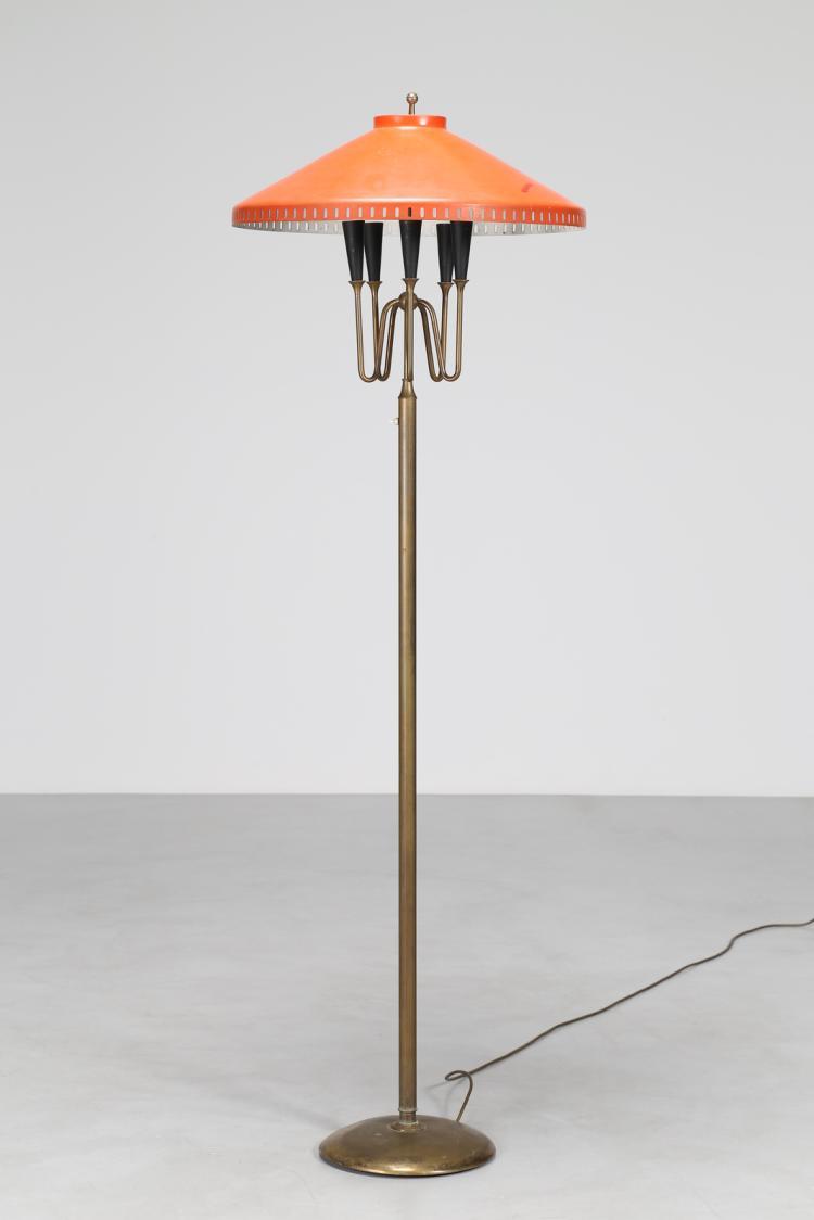 Lampada da terra in ottone e metallo laccato, anni 50