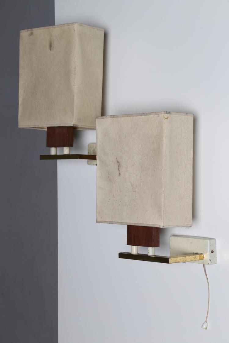 Coppia appliques in legno metallo laccato e ottone, produzione ALFREDO BIANCHI (MILANO), anni 50