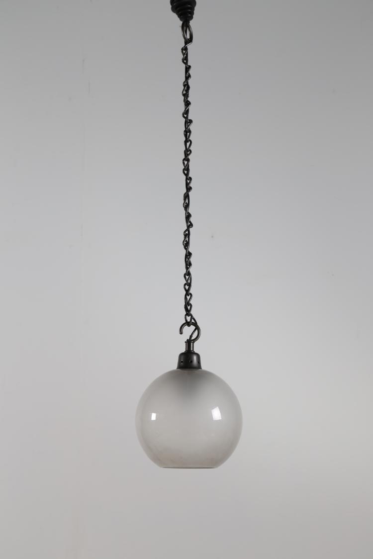 Lampada a sospensione in alluminio e vetro, mod. LS10, per Azucena, anni 60