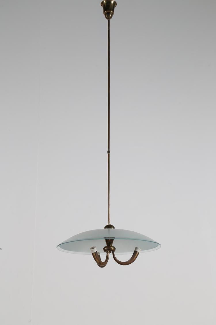 Lampada da soffitto in ottone e vetro, anni 50