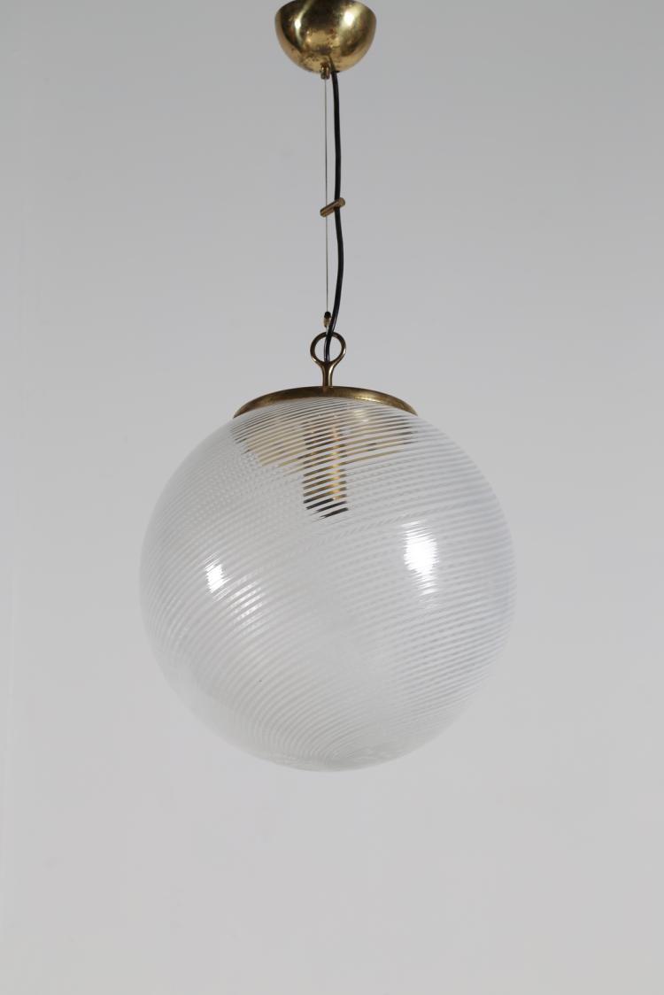 Lampada a sospensione in vetro tessuto a canne e ottone, anni 60