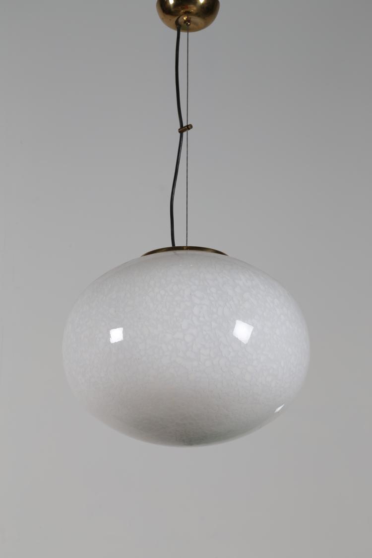 Lampada a sospensione in ottone e vetro macchiato in sommersione, anni 60