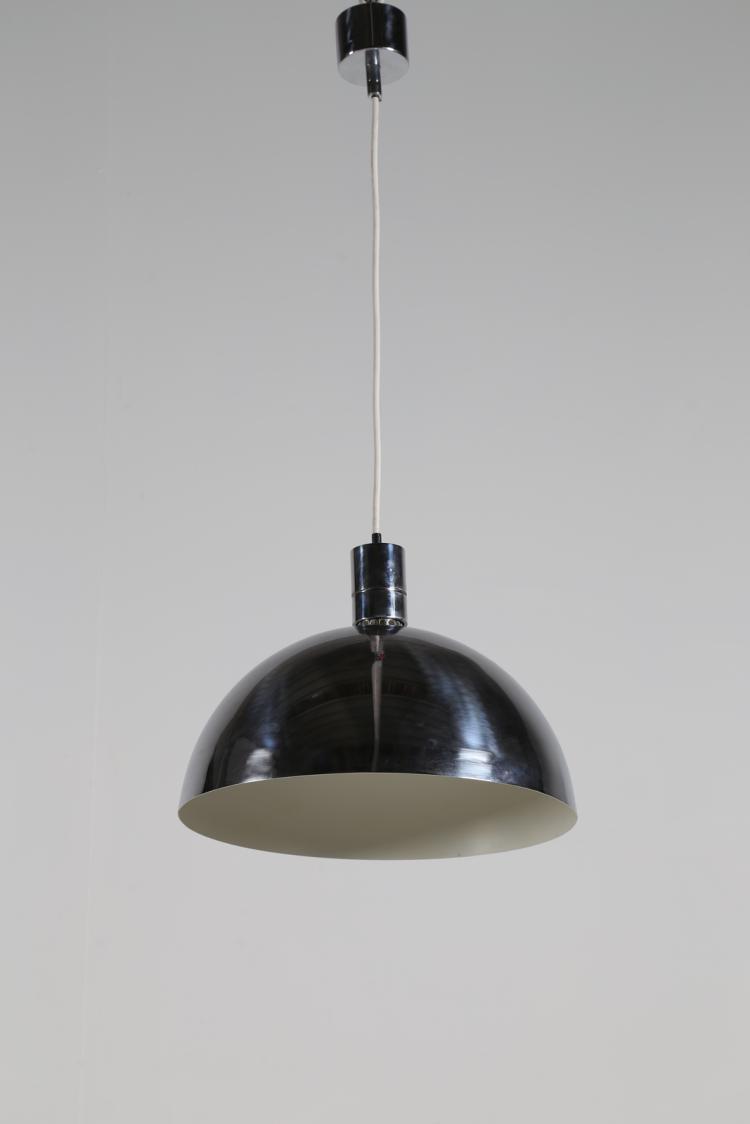 Lampada a sospensione in acciaio cromato, per Nemo Cassina, anni 60