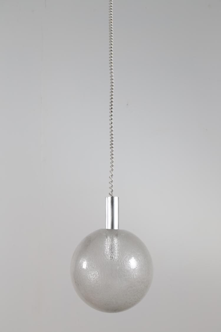 Lampada a sospensione in vetro ghiaccio e alluminio anodizzato mod. Sfera, per Floss, 1966