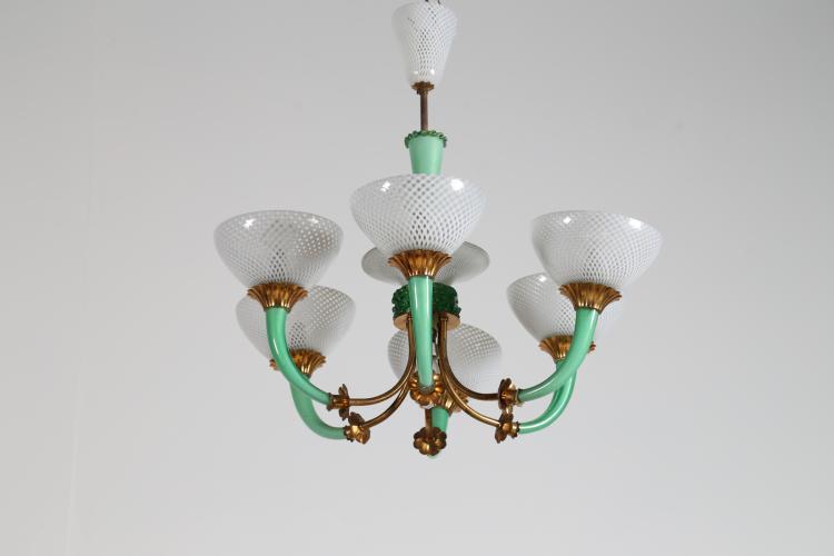 Lampadario in vetro reticello verde bianco e ottone, anni 50