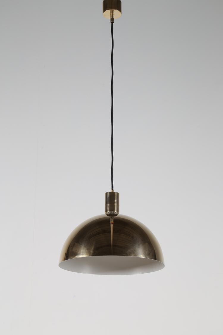 Lampada a sospensione in metallo placcato oro, mod. AM4Z, per Sirrah, anni 60