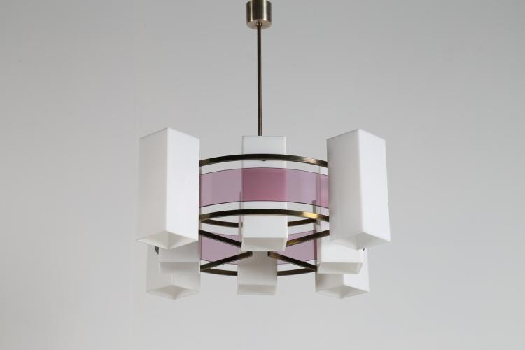 Lampadario in ottone nichelato e perpex, anni 50