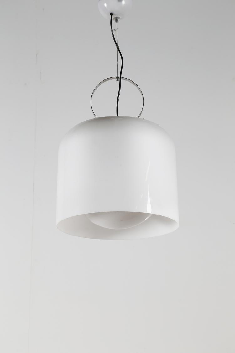 Lampada a sospensione in metallo cromato e perpex, per Harveiluce, anni 70°