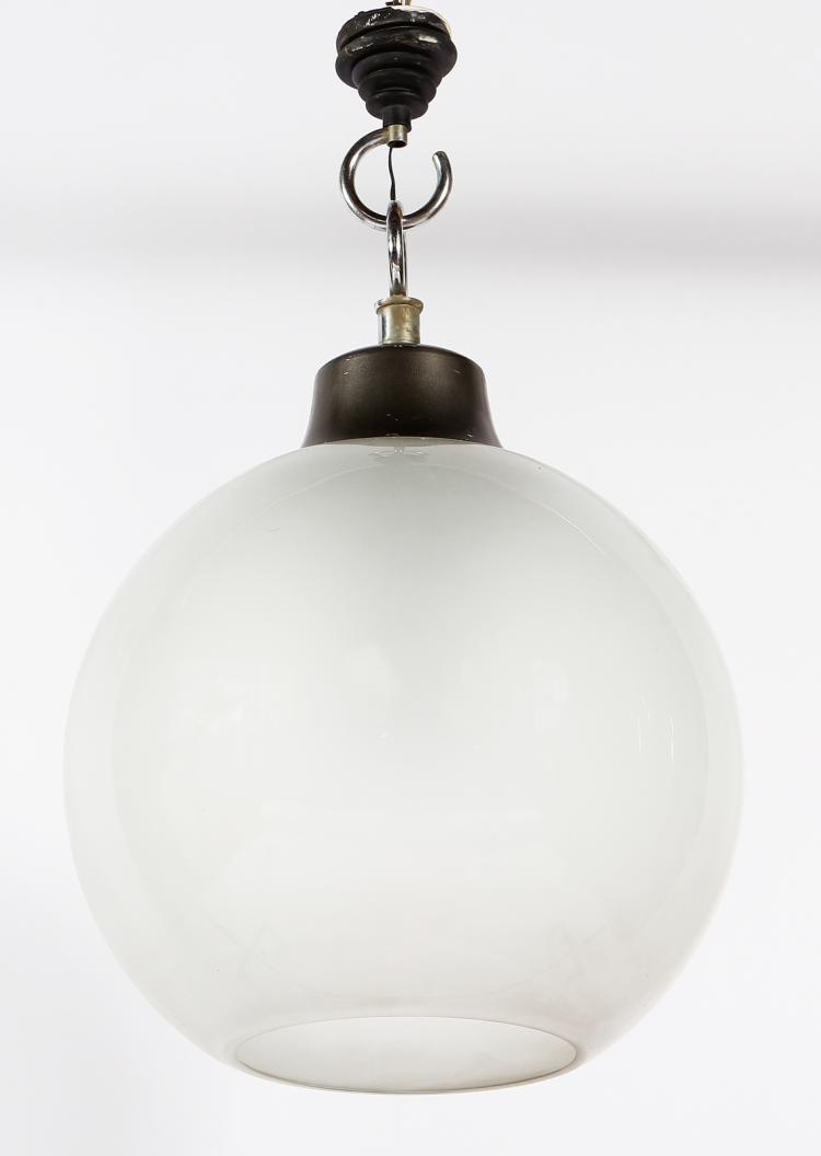 Lampada a sospensione in acciaio e vetro, mod. LS10, per Azucena, 1964