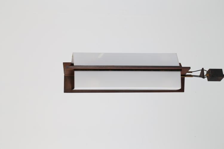Lampada a sospensione in legno perpex e metallo laccato, anni 50