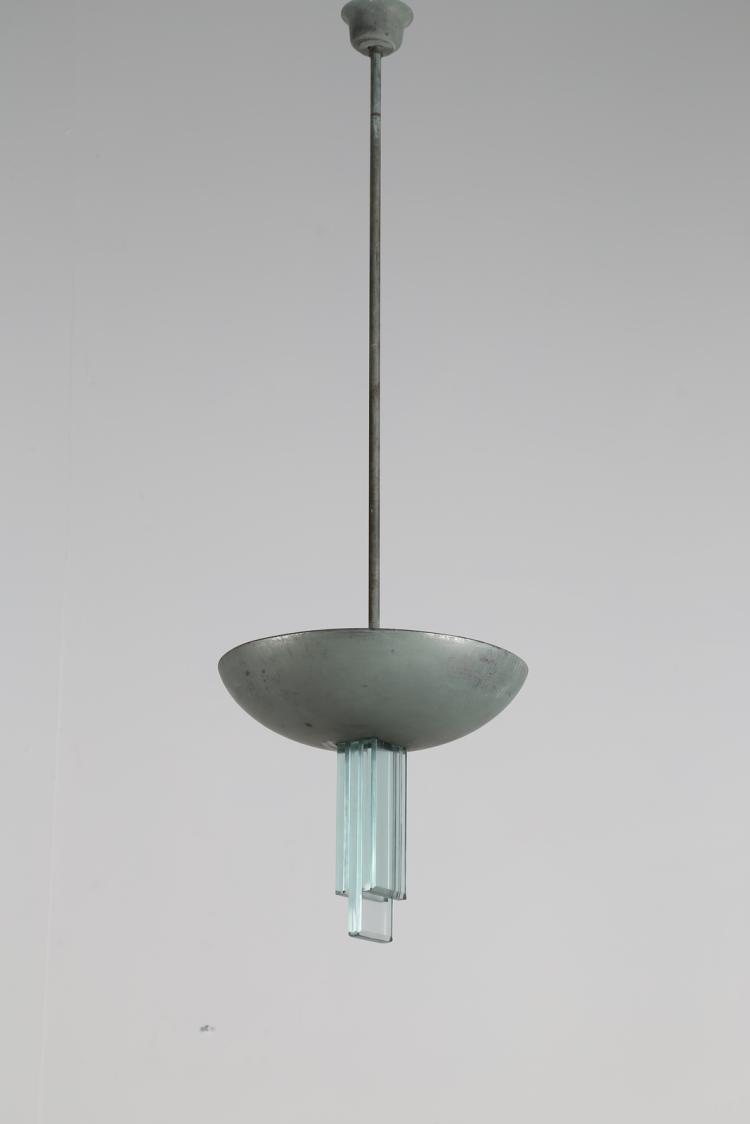 Lampada a sospensione in acciaio e vetro, anni 60