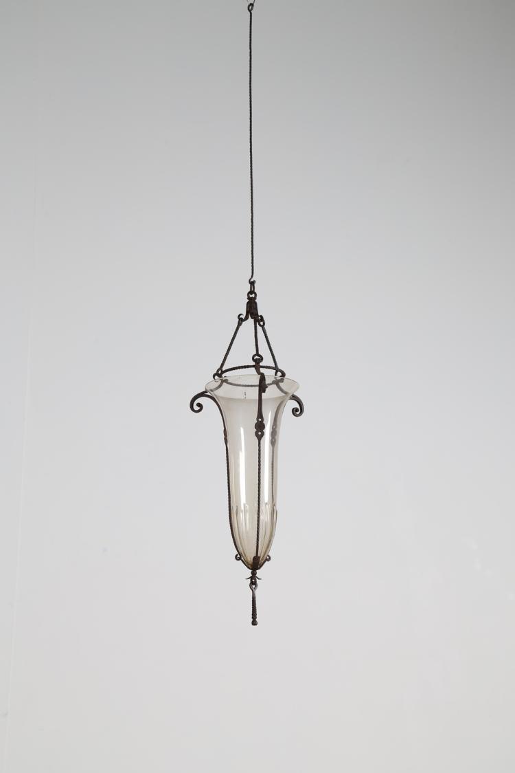Attrib. Lampadario in ferro battuto e vetro soffiato, anni 30