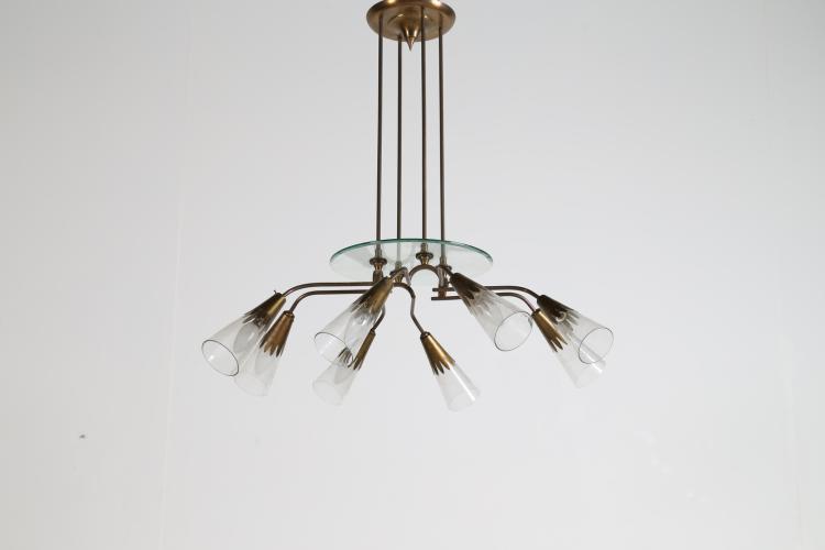 Lampadario otto luci in ottone vetro, anni 50