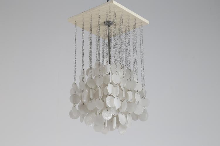 Lampadario in legno laccato metallo e dischi in vetro di Murano, anni 60