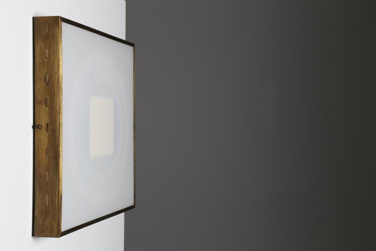 Attrib. Plafoniera in ottone e vetro, anni 60°