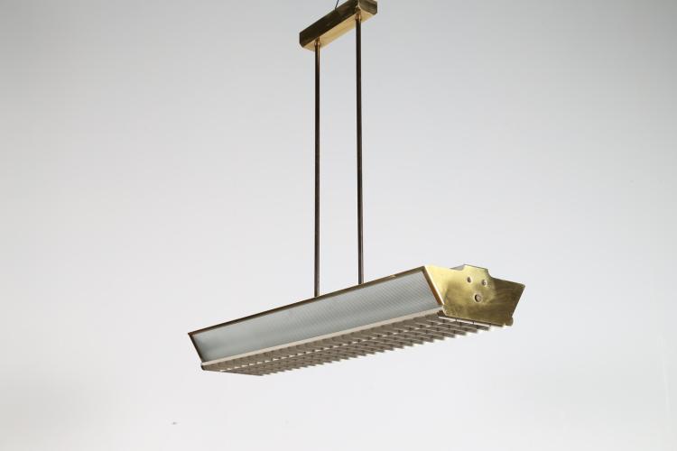 Lampada a sospensione in alluminio, ottone e vetro per. B.S. anni 60