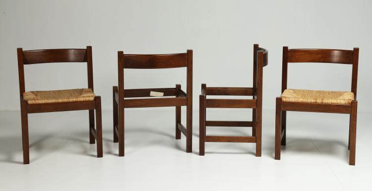 Quattro sedie in legno e paglia per Poltronova, anni 70