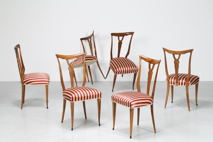 Sei sedie in noce con sedute in stoffa a righe anni 40°