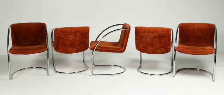 Cinque sedie in acciaio cromato e tessuto, mod. Lens, per Saporiti, anni 60