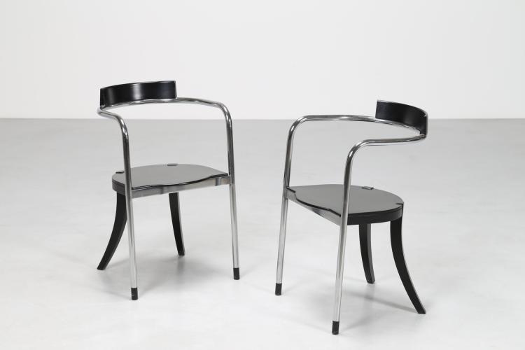 Coppia sedie modello FAUNO, legno laccato nero e metallo cromato, per Zanotta, anni 80°