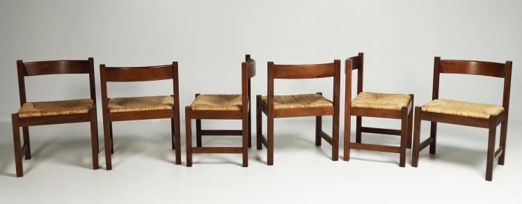 Sei sedie in legno e paglia per Poltronova, anni 70