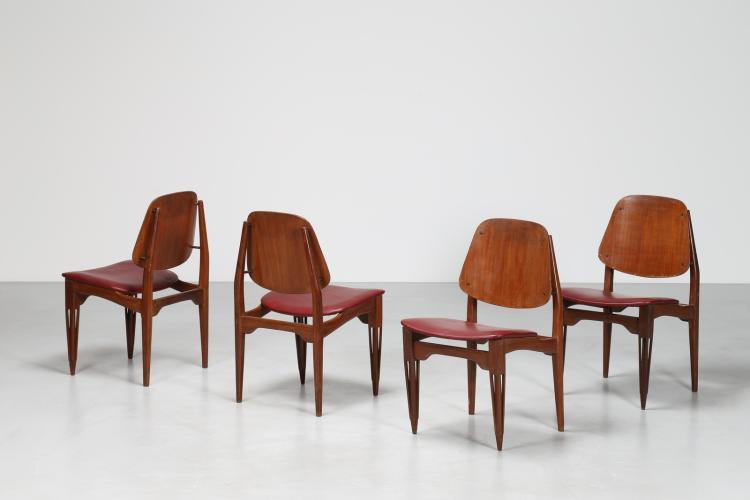 Quattro sedie in teak intagliato e sky, anni 50