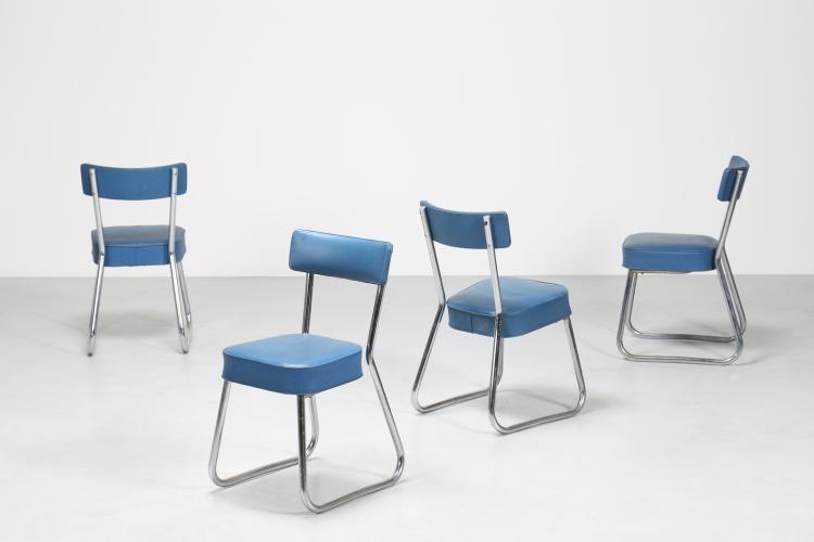 Quattro sedie in acciaio tubolare cromato e skai, anni 60°