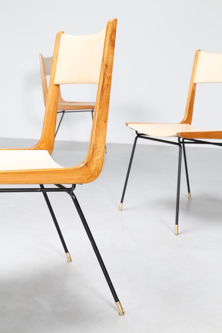 Sedie In Legno Anni 50.Attrib Quattro Sedie In Metallo Legno E Sky Anni 50