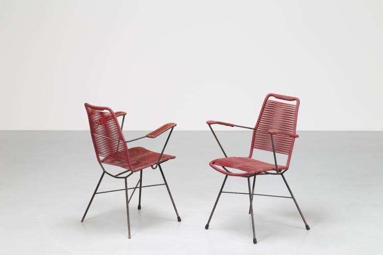 Coppia sedie in metallo laccato e plastica, anni 60
